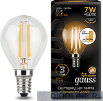 Светодиодная лампа Gauss LED Filament Globe E14 7W dimmable